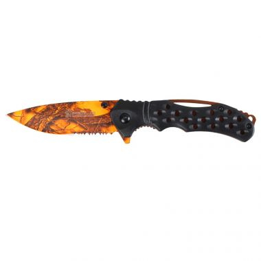 Basic EL29033 Folding Knife, ABS Handle Black, 3.9 inch Orange Blade with 3D Saw Print, Camping Tool for Fishing, Hunting, Sport Activity